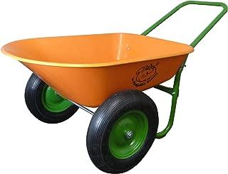 Dual-Wheel Residential Yard Rover Wheelbarrow - Pumpkin - 5 Cubic Foot Poly Tray with Flat Free Tires
