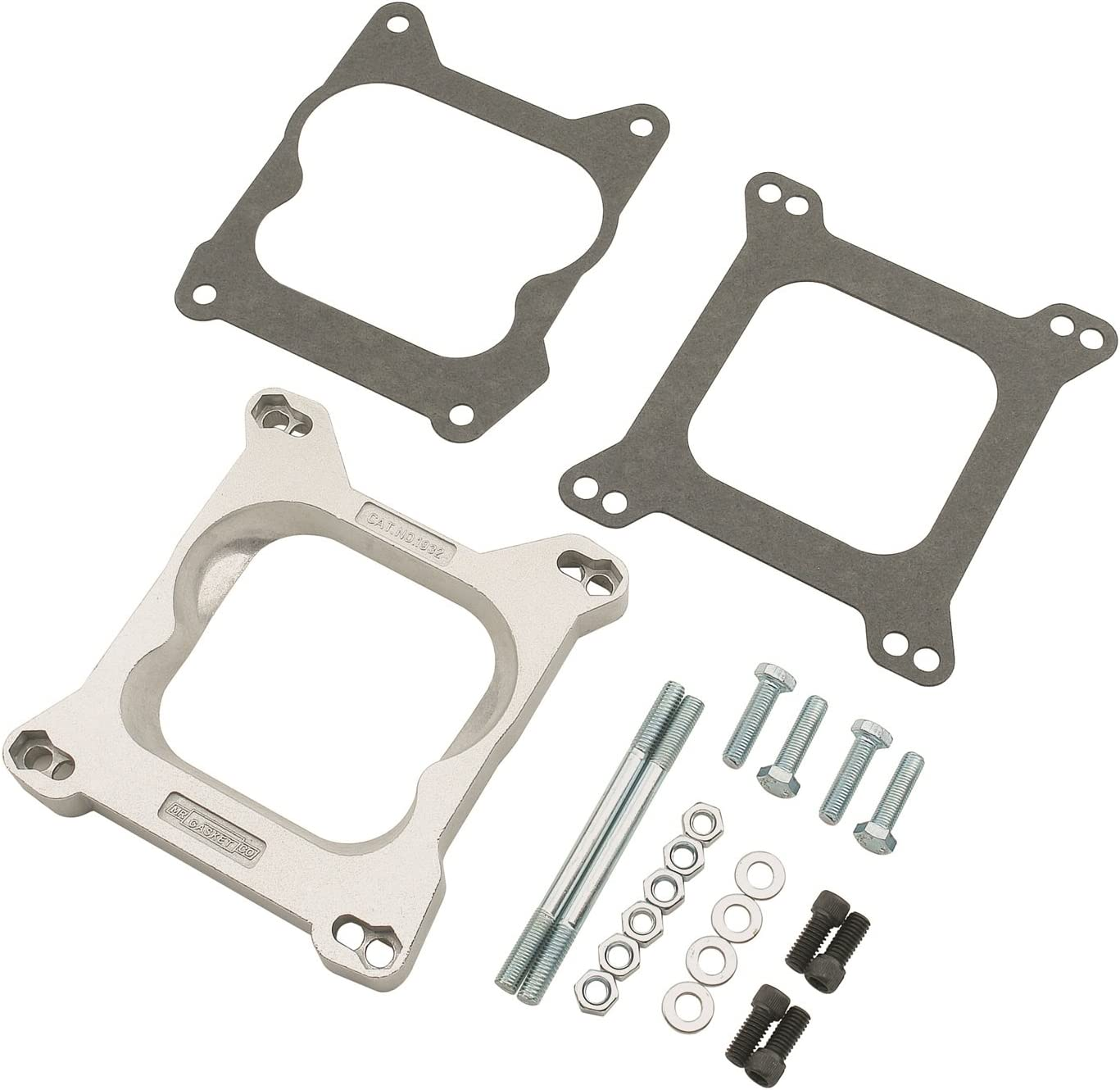Mr. Gasket Carburetor Adapter Kit 4Bbl To 4Bbl, Silver
