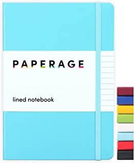Paperage Lined Journal Notebook, Hard Cover, Medium 5.7 x 8 inches, 100 gsm Thick Paper (Blue, Ruled)