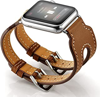 Maxjoy Compatible with Apple Watch Band 38mm,Leather Wristband with Metal Clasp Replacement for Women Men Double Buckle, Adjustable Watch Bands Compatible iWatch Nike+ Series1/2 Sports Edition Brown