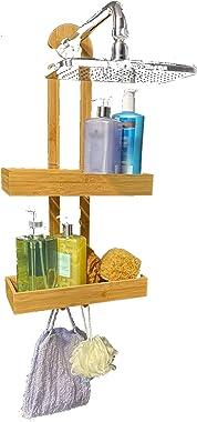 Shower Rack Bathroom Shower Organizer | Bamboo Hanging Shower Caddy | Shower Organizers | Shower Holder for Shampoo and Soap
