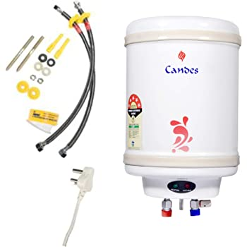 Candes 5 Star Rated 10 Litre Automatic Storage Electric Water Heater with Special Anti Rust Coating & Installation Kit, 2kW Geyser (Ivory, 10L, Perfecto Metal Model)