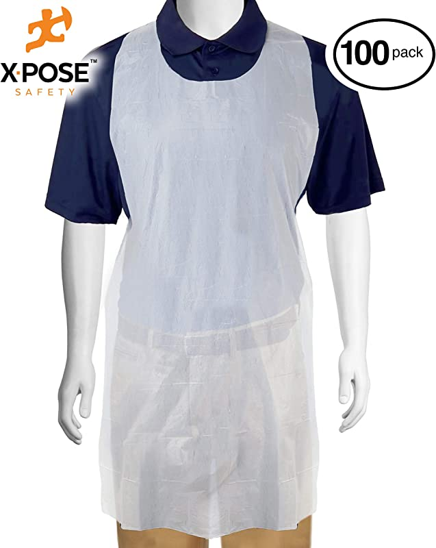 Disposable White Poly Aprons 1 Box 100 Count