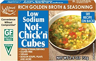Edward & Sons Not Chick'n Bouillon Cubes, LOW SODIUM, 2.5 Ounces (Pack of 12)