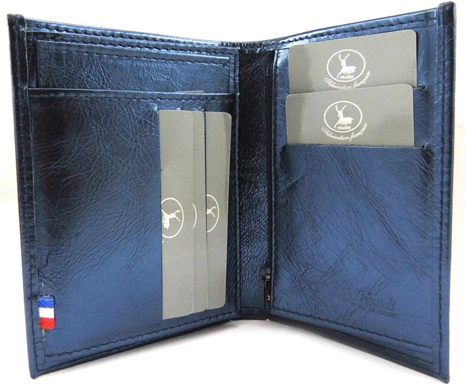 European leather wallet 'Frandi' dark bluee metal.