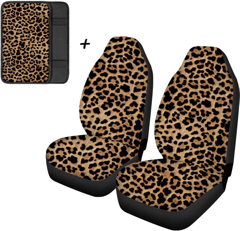 Fun Animal Lion Print Front Bucket Car Seat Covers for Detachable and Non Detachable Headrests Auto