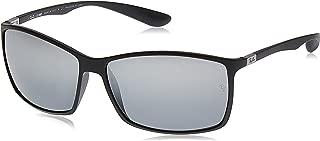 Ray-Ban RB4179 601S82 Polarized Rectangular Sunglasses, Matte Black/Polar Grey Mirror Silver Gradient, 62 mm
