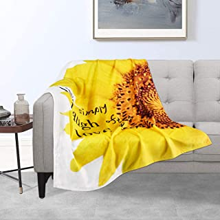 Sunflower Blankets Yellow Decorative Flannel Blankets 40 × 50 Inches Live Simply Laugh Often Love Deeply Throw Lightweight for Women, Men, Girls, Boys, Bed, Couch, Chair, Camping and Traveling