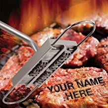 Ian Enterprises BBQ Branding Iron with Changeable Letters Personalized Meat Barbecue Steak Names Press Tool Outdoor Grilling (Letters-Silver)