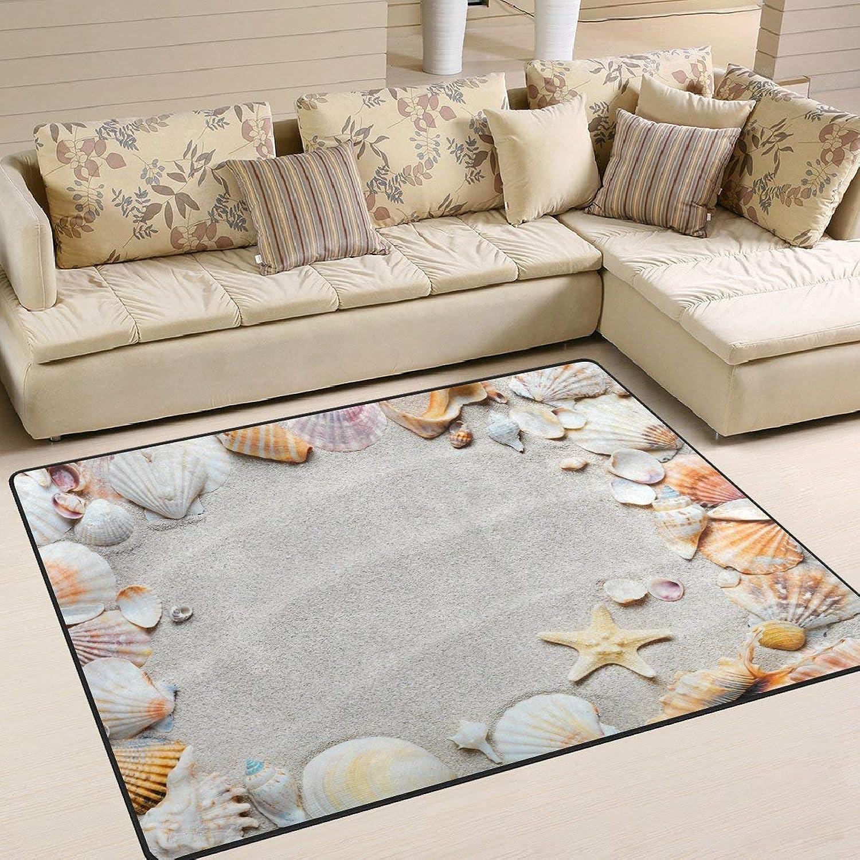 Beach with Starfish and Sand Seashells Floor Mat Rug Indoor Front Door Kitchen and Living Room Bedroom Mats Rubber Non Slip