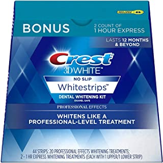 Crest 3D White Professional Effects Whitestrips Whitening Strips Kit, 22 Treatments, 20 Professional Effects + 2 1 Hour Express Whitestrips