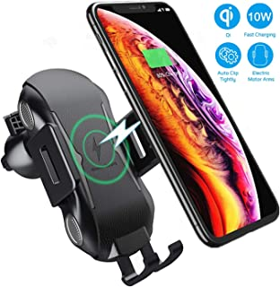 Marrrch Wireless Car Charger,Full-Automatic 10W Qi Fast Charging for Samsung Galaxy S10e/Note 9/8/ S9/ S8, Air Vent Car Phone Mount Phone Holder Compatible with All Qi Phones (Black)