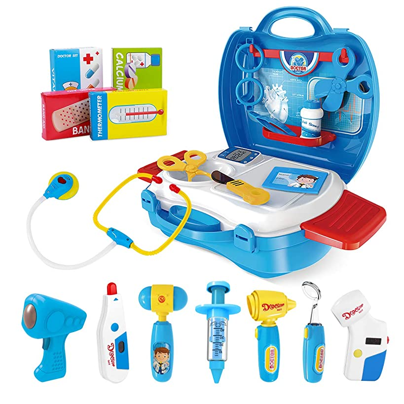 iBaseToy Doctor Kit for Kids, 27Pcs Pretend Medical Doctor Medical Playset with Electronic Stethoscope, Medical Kits Gift, Educational Doctor Toys for Toddler Boys Girls (Blue)