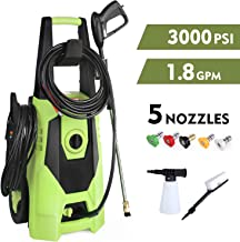 GARTIO Pressure Washer, 3000PSI 1800W 1.8GPM Portable Electric High Power Cleaner Machine, with Spray Gun and 5 Interchang...