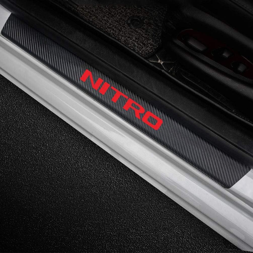 4pcs Carbon Fiber Protector Auto Door Threshold Plate Stickers For Dodge NITRO Car Door Sill Guards Cover Decor Non-Slip Anti-Scratch Accessories