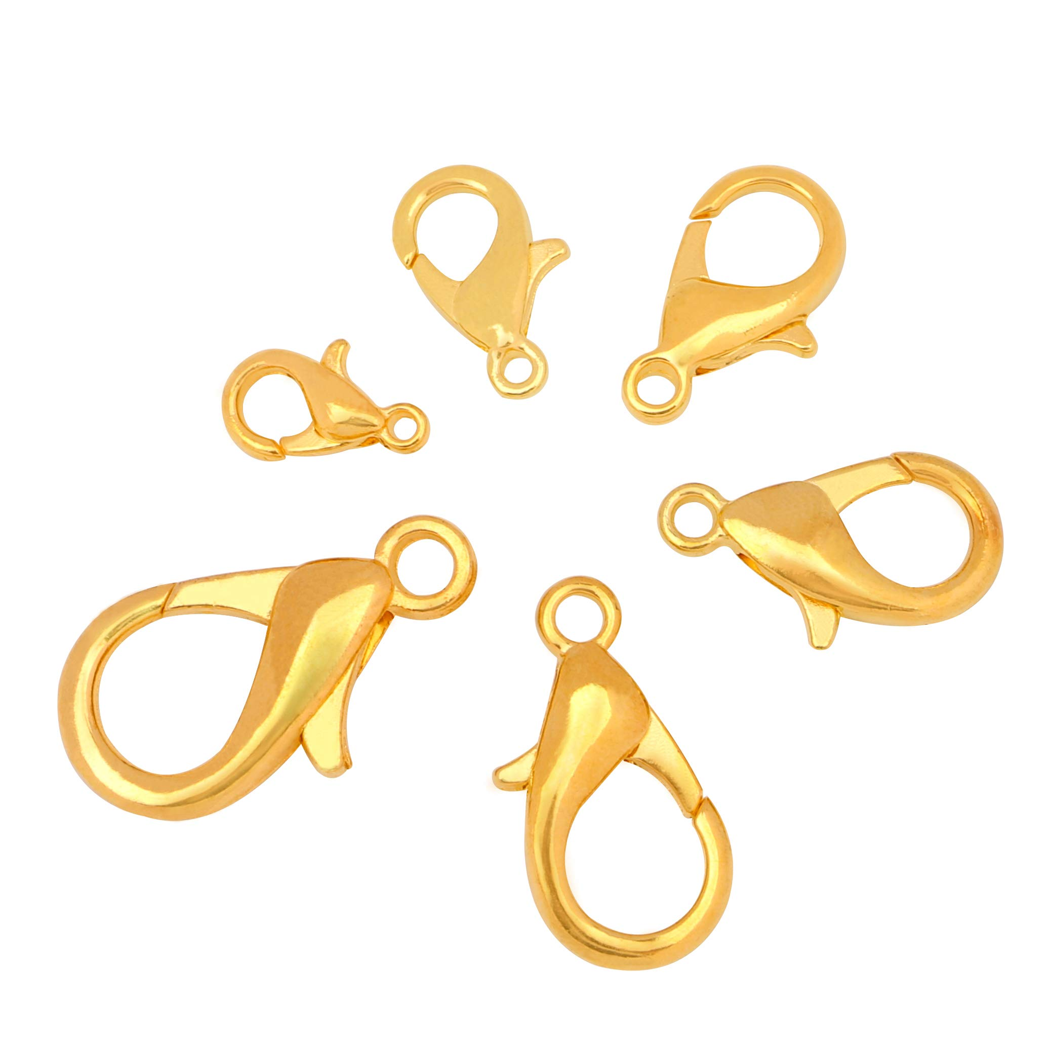 Lobster Clasps, sdoot 180 Pcs Gold Plated Jewelry Lobster Claw Clasps Findings 6 Sizes