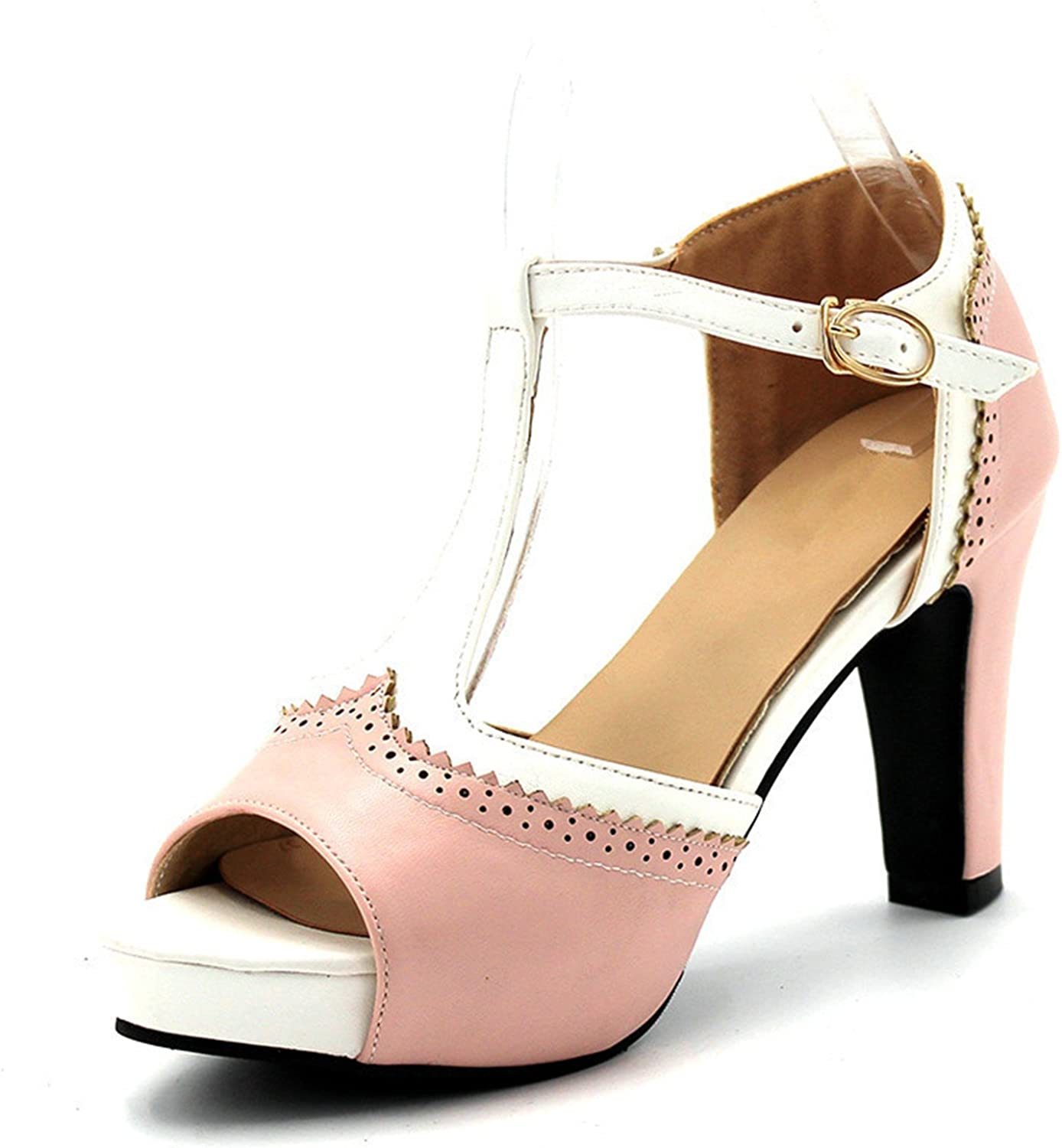 Daniig Women shoes Peep Toe Pumps for Women Buckle Strap Wedding and Party shoes Girl shoes Pink bluee Shallow High Heel shoes