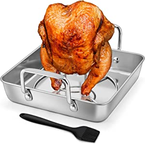 HaSteeL Beer Can Chicken Holder 3Pcs, Includes Stainless Steel Vertical Chicken Roaster Stand Rack, Heavy Duty Roasting Drip Pan & Silicone Oil Brush, Great for Smoker Grill Oven BBQ, Dishwasher Safe