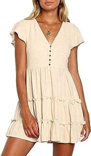 Women's Summer Bohemian Floral Printed Short Sleeve V Neck Button Ruffle Swing Beach Mini Dress