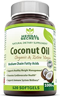 Herbal Secrets Organic & Extra Virgin Coconut Oil Dietary Supplement - 1000mg - 120 Softgels - Weight Management & Immune System Support - Promotes Heart Health*