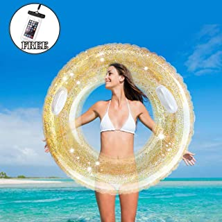 NINESUN Swim Tube with Gold Confetti, Inner Tube Pool Tube for Adult, Swim Ring for Pool Party (39in)