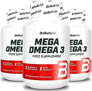 BIOTECH USA MEGA OMEGA 3 | Integratore alimentare premium | Olio di pesce | EPA DHA e vitamina E (270 Capsule)