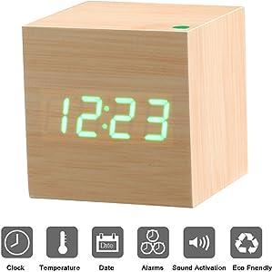 Reloj Digital Despertador de Madera PLUIESOLEIL con Control de Sonido y LED Brillo de la Pantalla con 3 Alarmas Programables y con Indicador de Temperatura