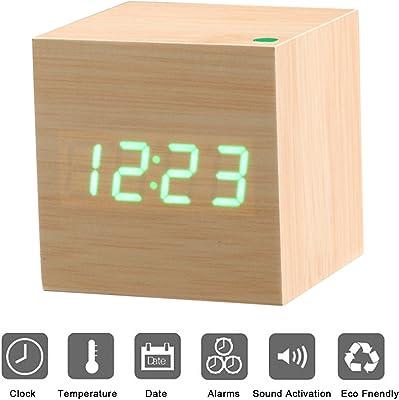 Reloj Digital Despertador de Madera PLUIESOLEIL con Control de Sonido y LED Brillo de la Pantalla
