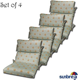 Comfort Classics Inc. Set of 4 Outdoor CHANNELED Chair Cushions 22W x 44L x 3H Hinge at 24