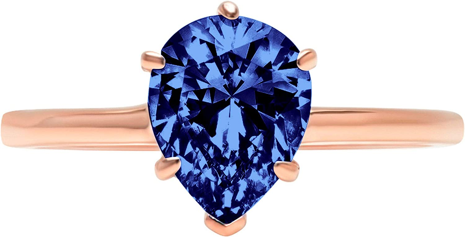 1.95 ct Brilliant Pear Cut Solitaire Flawless Simulated CZ Blue Tanzanite Ideal VVS1 6-Prong Engagement Wedding Bridal Promise Anniversary Designer Ring Solid 14k Rose Gold for Women