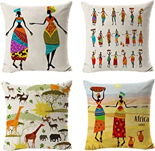 All Smiles Ethnic African Decor Throw Pillow Covers Cases Decorative Africa Print Outdoor Cushion Home Décorations 18