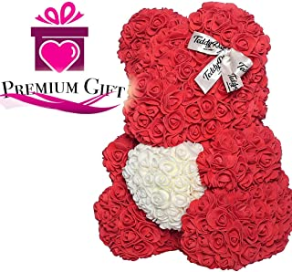 Rose Teddy Bear with Heart Forever Artificial Rose Anniversary Christmas Valentines Gift 12