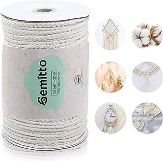 GEMITTO 5 mm x 90 m Baumwolle für Makramee-Dekoration Schnur-Handwerks-Faden-Zapfen-hängende Betriebsanlage-Aufhängung Baumwolle Kordel - Beige
