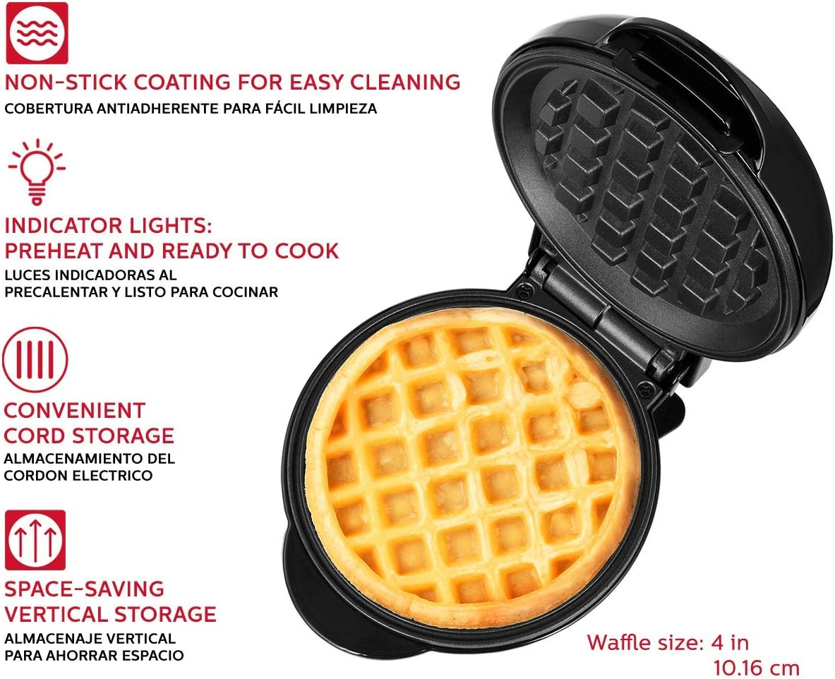 "Holstein Housewares HH-09125016B Personal Non-Stick Waffle Maker, 4"", Black: Kitchen & Dining"