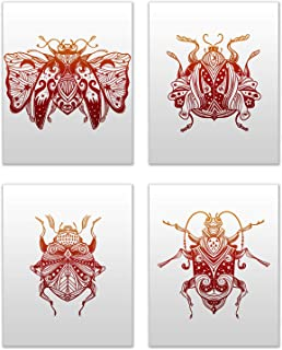 Magic Beetles Prints - Set of 4 (8x10 Inches) Glossy Spiritual Occult Bug Tattoo Wall Art Decor