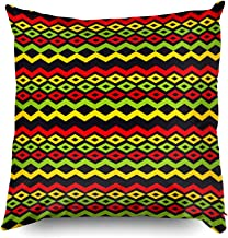 Shorping Pillow Covers,18x18 Pillow Cover Decorative Pillowcase for Home Décor Cusion Covers Classic Reggae Color Music Background Jamaica Seamless Pattern Poster Vector Illustration