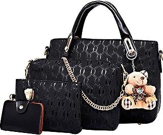 FiveloveTwo Damen 4Pcs Top Griff Satchel Hobo PU Leder Umhängetasche Handtasche Set große Tasche + Geldbörse + Schultertas...