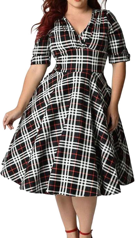 XiaoTianXinwomen clothes XTX Women Plaid Vintage 50S Swing Plus Size Short Sleeve Cocktail Party Midi Dress