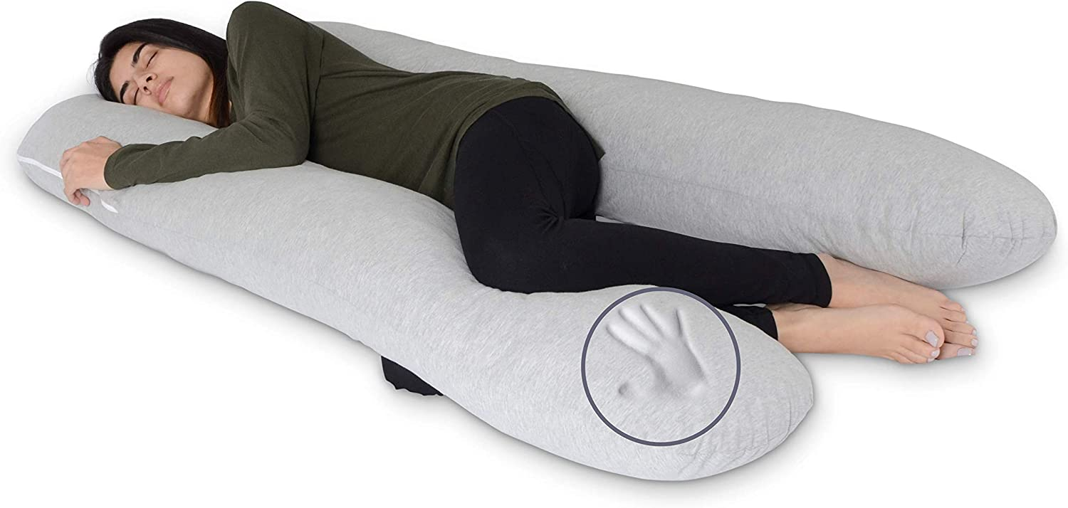 Milliard U Shaped Total Body Support Pillow Memory Foam with Cool, Cotton Breathable Cover- 54 Inch