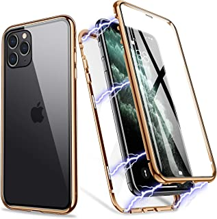 iPhone 11 Pro Max Case, ZHIKE Magnetic Metal Frame Front and Back Tempered Glass Full Screen Coverage One-Piece Design Flip Cover [Support Wireless Charging] [Clear Gold]