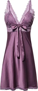 Women's Satin Lace Full Slip Chemise Silk Nightgown Sleepwear
