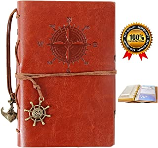 Refillable Leather Notebook,Travelers Journal with pockets,Diary Notebook,Vintage Journals to write in for women and men,Bonus Plastic Zipper Pocket and Card Holders,7 Inches,Red Brown
