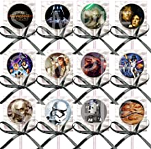 Star Wars Lollipops Party Favors Supplies Suckers with Black Ribbon Bows Party Favors -12 pcs, Princess Leia, Hans Solo, Yoda, Luke Skywalker A New Hope Empire Strikes Back Return of the Jedi