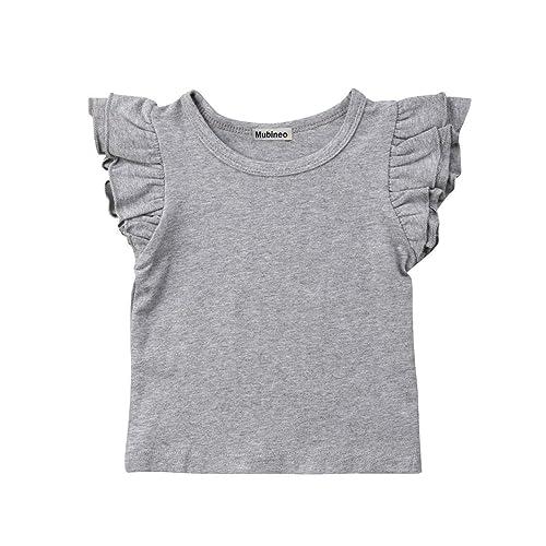 242da6d7 Mubineo Toddler Baby Girl Basic Plain Ruffle Sleeve Cotton T Shirts Tops Tee  Clothes