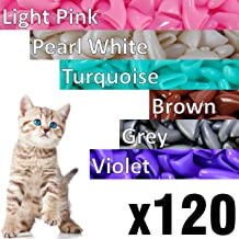 120 pcs Soft Cat Claw Caps Cats Nail Claws 6X Colors + 6X Adhesive Glue + 6X Applicator, Pet Cap Tips Cover Paws Grooming Soft Covers (XS, Light Pink, Pearl White, Turquoise, Brown, Grey, Violet)