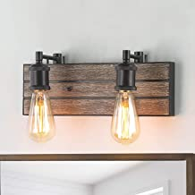 LOG BARN Vanity Lights, Wall Sconce in Rustic Wood and Oil Rubbed Metal Water Pipe Finish, Bathroom Fixture with Adjustabl...