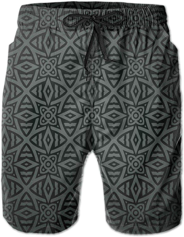 Medieval Folkloric Ornament Celtic Abstract Floral Circles Mens Swim Shorts Casual Workout Short Pants Drawstring Beach Shorts,XXL