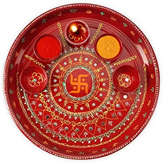 DEVIKA Swastik Ganesh Pooja THALI for Festive and Gifting. for Ganpati Navratri, Dashera Diwali! (RED SWASTIK, Big 11)