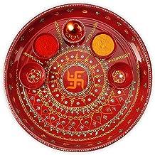 DEVIKA Swastik Ganesh Pooja THALI for Festive and Gifting. for Ganpati Navratri, Dashera Diwali! (RED SWASTIK, Big 11)