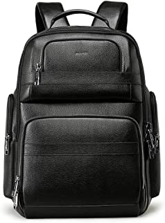 BOPAI 40L Genuine Leather Backpack for Men 15.6 inch Laptop Backpack with USB Charging Business Travel Backpack